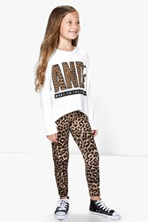 Boohoo Leopard Dip Back Tee And Legging Set Ivory