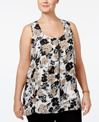 Ny Collection Plus Size Pleated Layered Top Taupe Lily