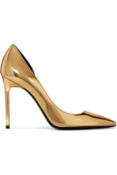 Saint Laurent Anya D'orsay Metallic Patent Leather Pumps Gold