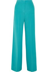 Etro Silk Crepe De Chine Wide Leg Pants Blue