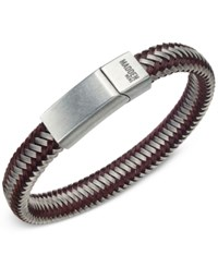 Steve Madden Men's Two Tone Cord Bracelet Silver Brown