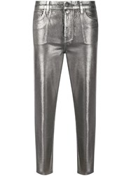 J Brand Metallic Effect Cropped Trousers Grey
