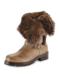 Sartore Rabbit Fur Fold Over Leather Ankle Boot