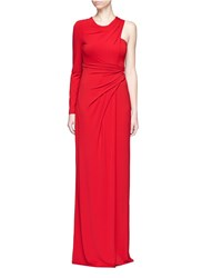 Alexander Wang Asymmetric Drape One Shoulder Crepe Gown Red