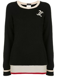 Chanel Vintage Cc Logo Long Sleeve Cashmere Sweater Black