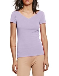 Lauren Ralph Lauren Stretch Cotton V Neck Tee Pale Iris
