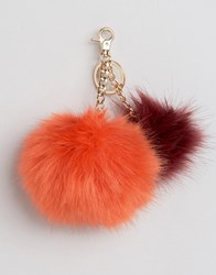 Urbancode Faux Fur Double Pom Pom Keychain Bag Accessory Red