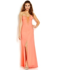 Hailey Logan Juniors' Plunging Strapless Illusion Gown