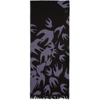 Mcq By Alexander Mcqueen Black And Purple Swallow Cut Up Scarf