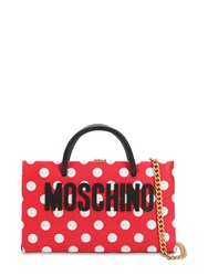 Moschino Dot Logo Printed Leather Shoulder Bag Red White Dots