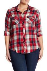 Angie Plaid Blouse Plus Size Red