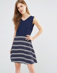 Yumi Tie Back Dress With Contrast Striped Skirt Navy