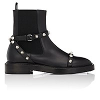 Balenciaga Women's Button Embellished Leather Chelsea Boots Black