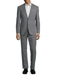 Tallia Orange Striped Stretch Wool Suit Grey