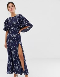 Liquorish Midi Dress With Flutter Sleeve In Navy Floral Print