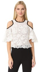 Monique Lhuillier Cutout Shoulder Top Silk White Noir