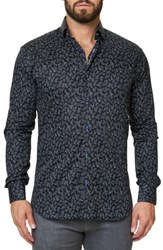Maceoo Men's Luxor Funky Chemistry Trim Fit Sport Shirt Black