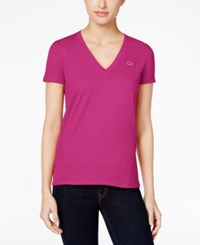 Lacoste V Neck T Shirt Purple
