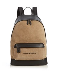 Balenciaga Bi Colour Suede And Leather Backpack Tan Multi