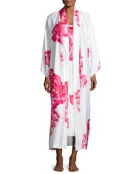 Natori Peony Long Satin Robe Multi Pattern