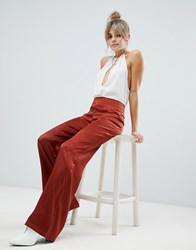 Boohoo Textured Satin Wide Leg Pants In Rust Orange