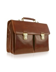 Chiarugi Handmade Brown Genuine Italian Leather Briefcase