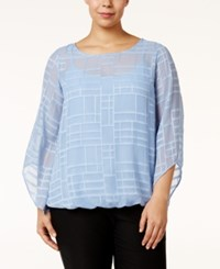 Alfani Plus Size Angel Sleeve Burnout Top Only At Macy's Gentle Blue