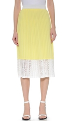 Wayf Pleated Midi Skirt Yellow White