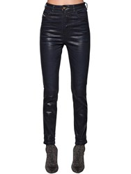 Diesel Babhila Skinny Waxed Cotton Denim Jeans Black