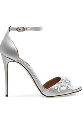 Dolce And Gabbana Swarovski Crystal Embellished Satin Sandals Silver