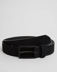 Asos Smart Slim Belt In Black Faux Suede Black