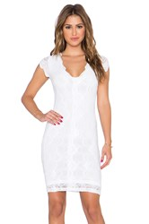 Nightcap Victorian Lace Deep V Pencil Dress White