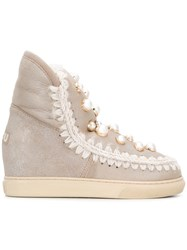 Mou Inner Wedge Sneaker Boots Nude And Neutrals