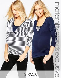 Mama Licious Mamalicious 2 Pack Long Sleeve Striped Jersey Top Multi