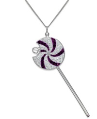 Sis By Simone I Smith Sis By Simone I. Smith Clear And Purple Swirl Lollipop Pendant Necklace In Sterling Silver