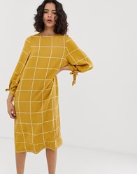 Native Youth Relaxed Smock Midi Dress With Tie Cuffs In Grid Check Brown
