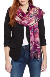 Nordstrom Tissue Print Wool And Cashmere Wrap Scarf Purple Queen Lace