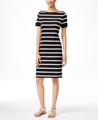 Karen Scott Striped T Shirt Dress Only At Macy's Deep Black