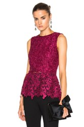 Oscar De La Renta Sleeveless Lace Blouse In Red Purple Red Purple