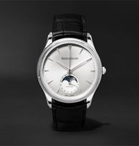 Jaeger Lecoultre Master Ultra Thin Moon 39Mm Stainless Steel And Alligator Watch Black