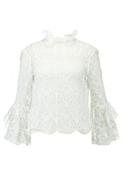 Endless Rose Crochet Lace With Ribbon Ties At Back Blouse Off White Off White