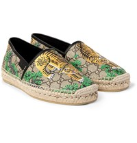 Gucci Leather Trimmed Printed Coated Canvas Espadrilles Brown