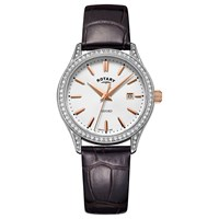 Rotary Women's Oxford Date Leather Strap Watch Dark Brown White