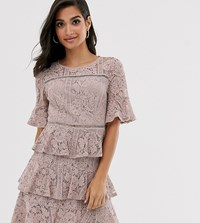 Little Mistress Petite Lace Frill Mini Dress With Laddeting Insert In Mink Pink