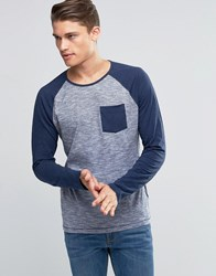 Esprit Raglan Long Sleeve Top With Contrast Sleeves And Pocket Navy
