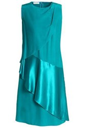 Vionnet Satin Paneled Draped Silk Cady Dress Turquoise