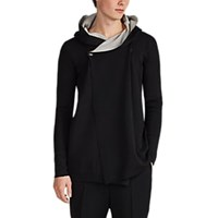 Rick Owens Double Faced Cotton And Cashmere Hooded Cardigan Black
