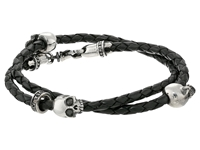 King Baby Studio Thin Braided Black Leather W Hamlet Skulls Double Wrap Bracelet