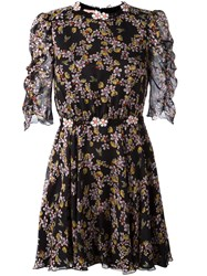 Giamba Floral Bee Print Mini Dress Black