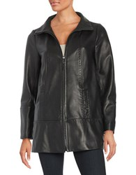 Jones New York Zip Front Leather Coat Black